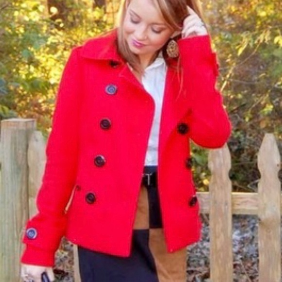 H&M Jackets & Blazers - H&M Red Wool Pea Coat